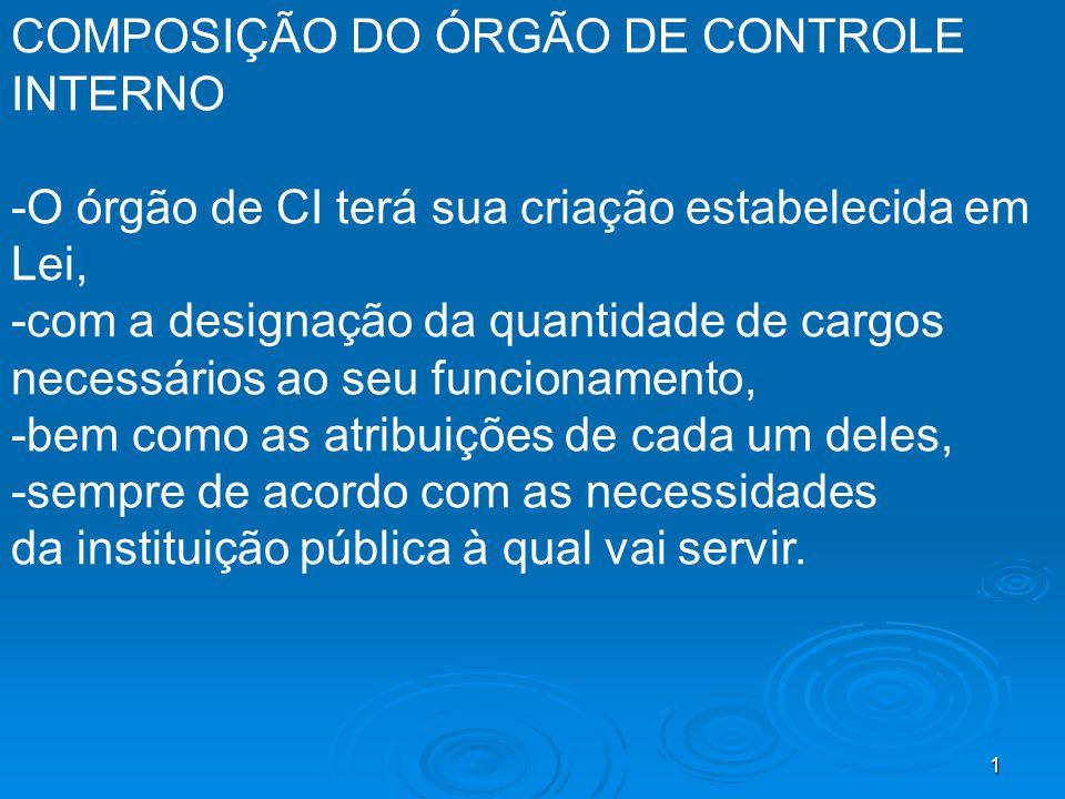 COMPOSIÇÃO DO ÓRGÃO DE CONTROLE INTERNO