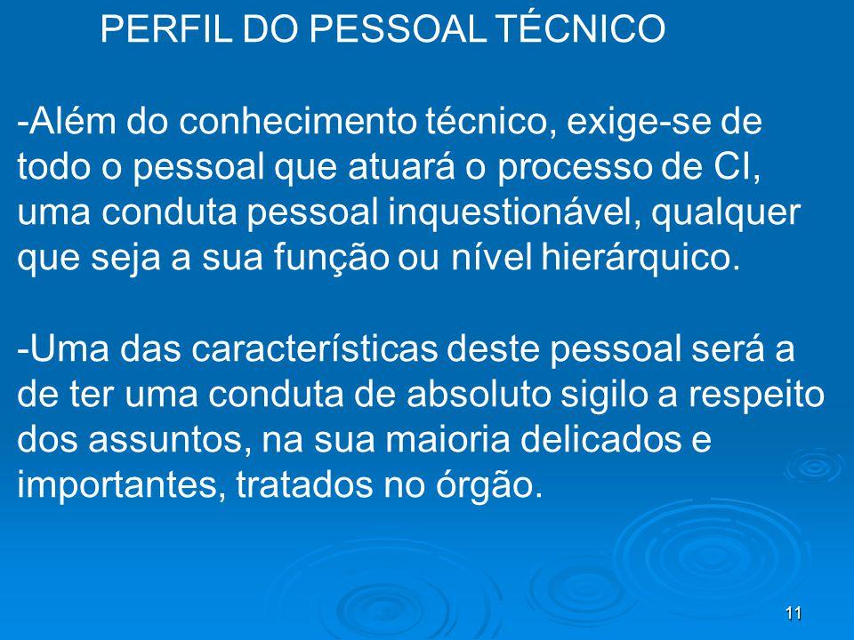 PERFIL DO PESSOAL TÉCNICO