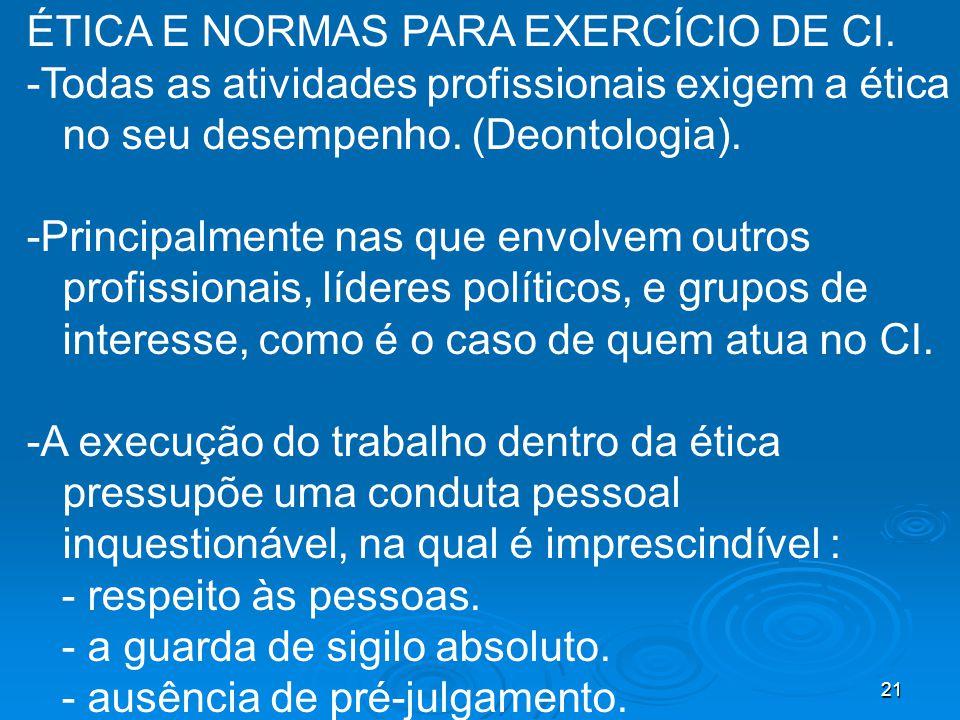 ÉTICA E NORMAS PARA EXERCÍCIO DE CI.
