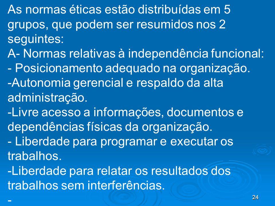 As normas éticas estão distribuídas em 5 grupos, que podem ser resumidos nos 2 seguintes: