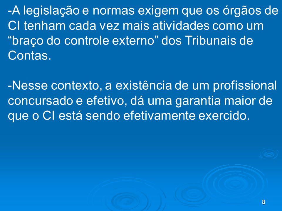 -A legislação e normas exigem que os órgãos de CI tenham cada vez mais atividades como um braço do controle externo dos Tribunais de Contas.