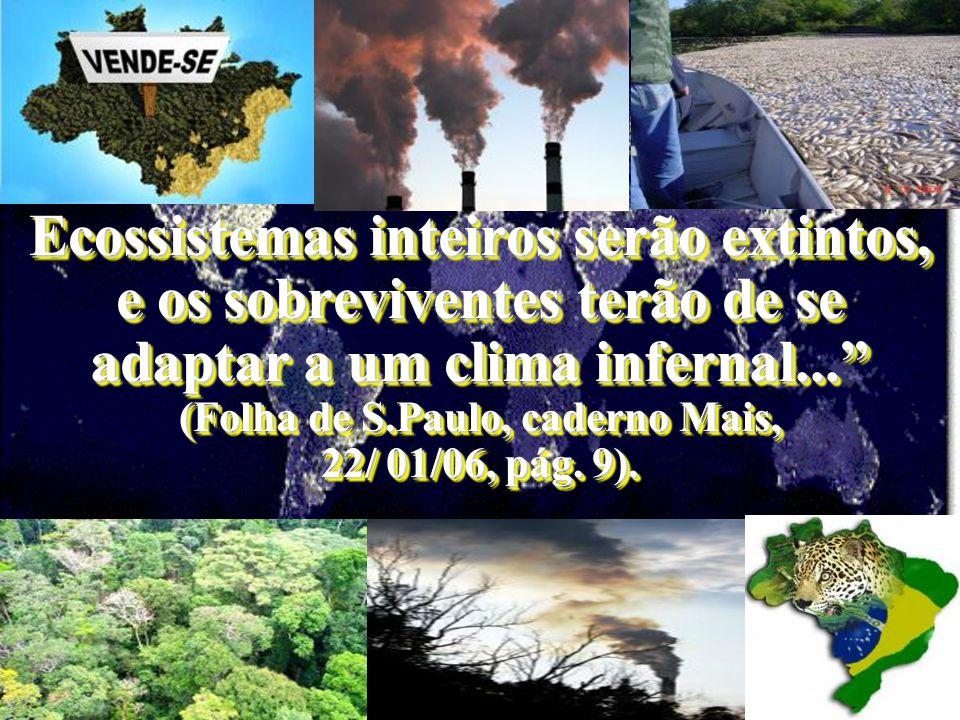 Ecossistemas inteiros serão extintos, e os sobreviventes terão de se adaptar a um clima infernal... (Folha de S.Paulo, caderno Mais, 22/ 01/06, pág.
