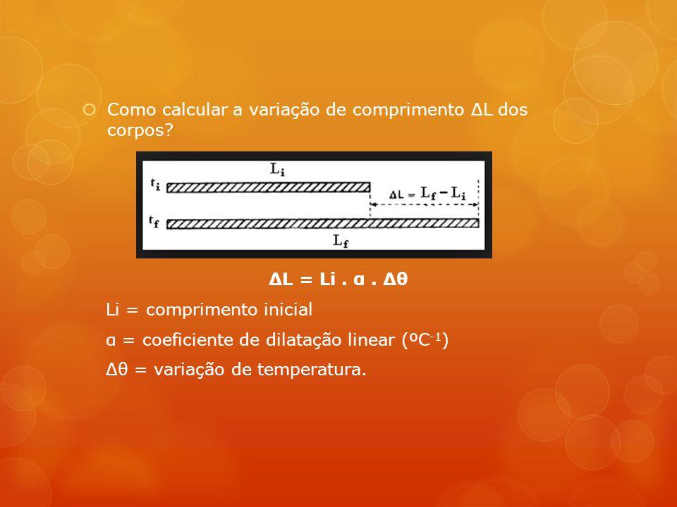 Como calcular a variação de comprimento ΔL dos corpos