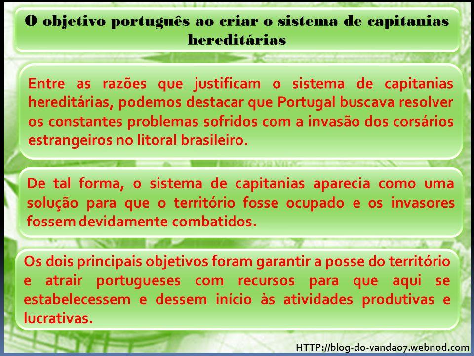 O objetivo português ao criar o sistema de capitanias hereditárias