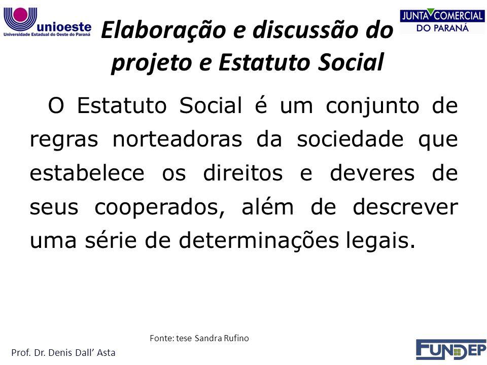 Elaboração e discussão do projeto e Estatuto Social