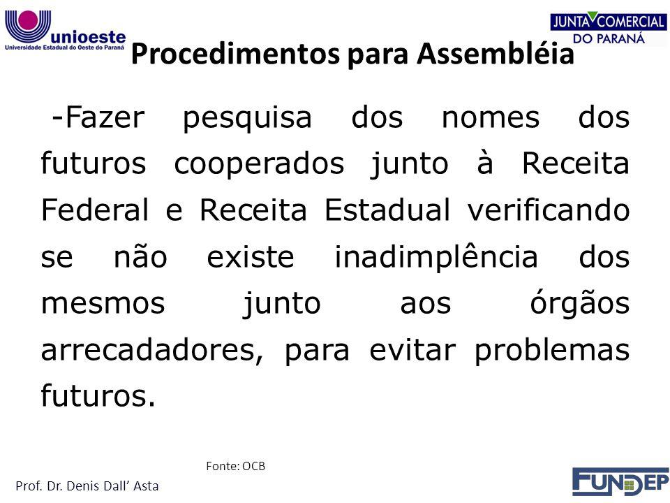 Procedimentos para Assembléia