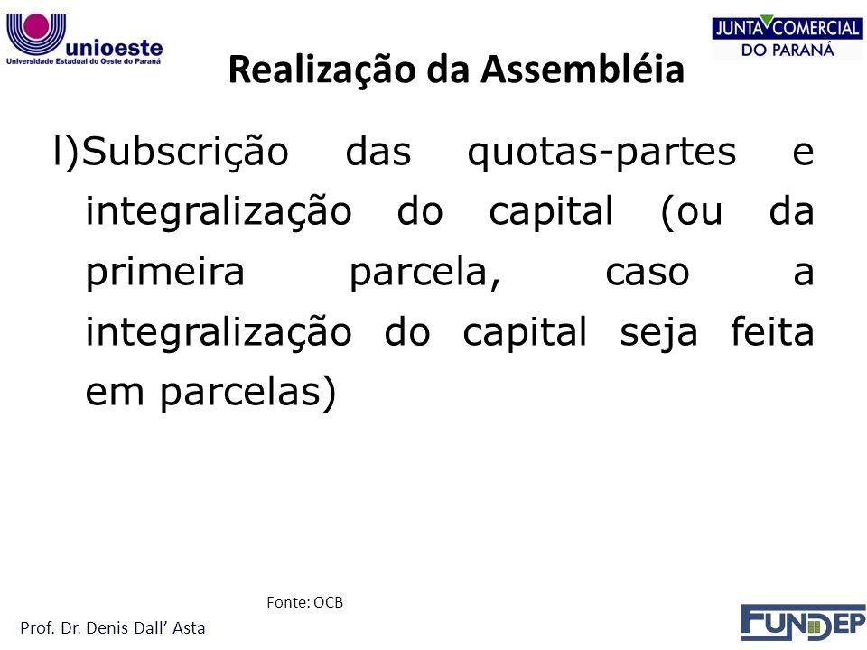 Realização da Assembléia