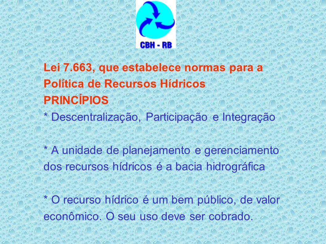 Lei 7.663, que estabelece normas para a Política de Recursos Hídricos PRINCÍPIOS * Descentralização, Participação e Integração * A unidade de planejamento e gerenciamento dos recursos hídricos é a bacia hidrográfica * O recurso hídrico é um bem público, de valor econômico.