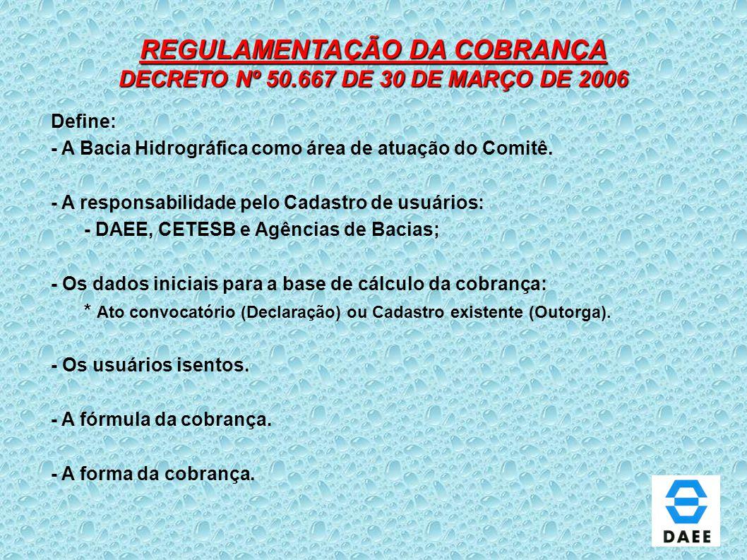 REGULAMENTAÇÃO DA COBRANÇA DECRETO Nº 50.667 DE 30 DE MARÇO DE 2006