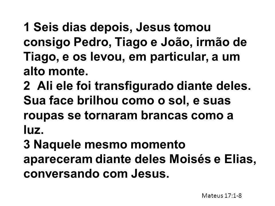1 Seis dias depois, Jesus tomou consigo Pedro, Tiago e João, irmão de Tiago, e os levou, em particular, a um alto monte.