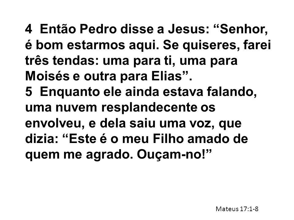 4. Então Pedro disse a Jesus: Senhor, é bom estarmos aqui