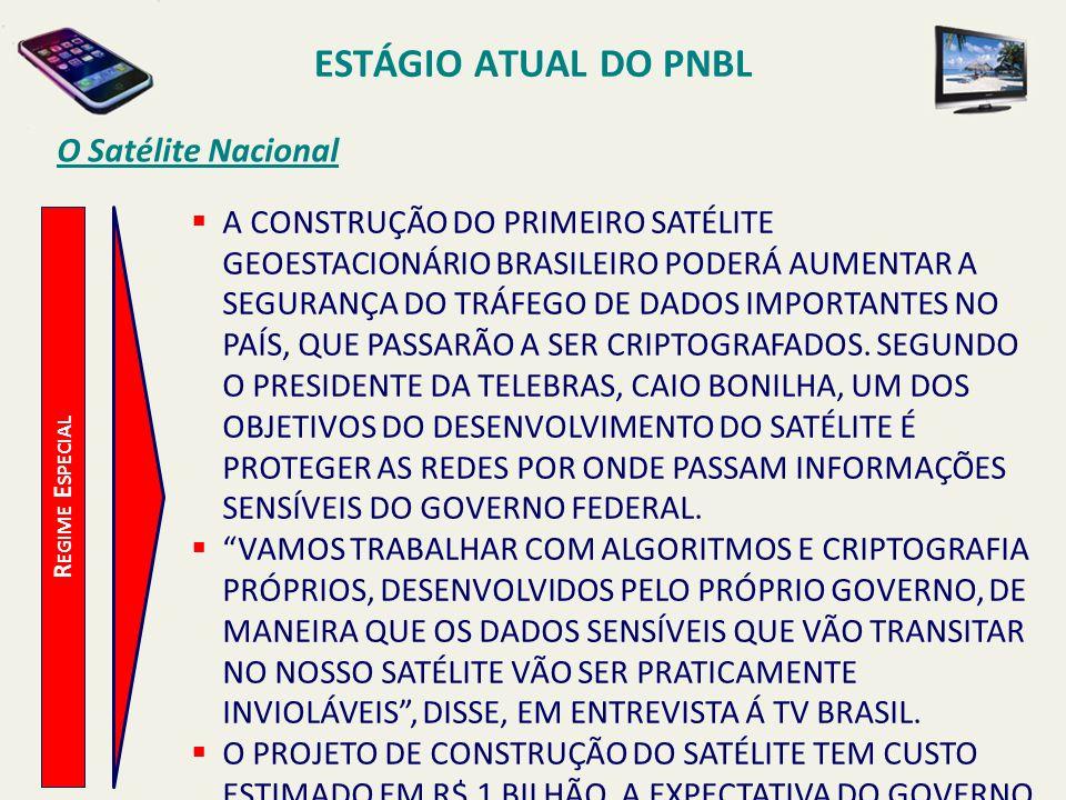 ESTÁGIO ATUAL DO PNBL O Satélite Nacional