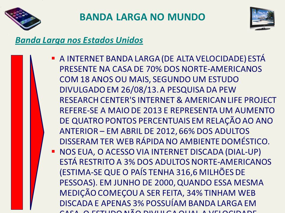 BANDA LARGA NO MUNDO Banda Larga nos Estados Unidos