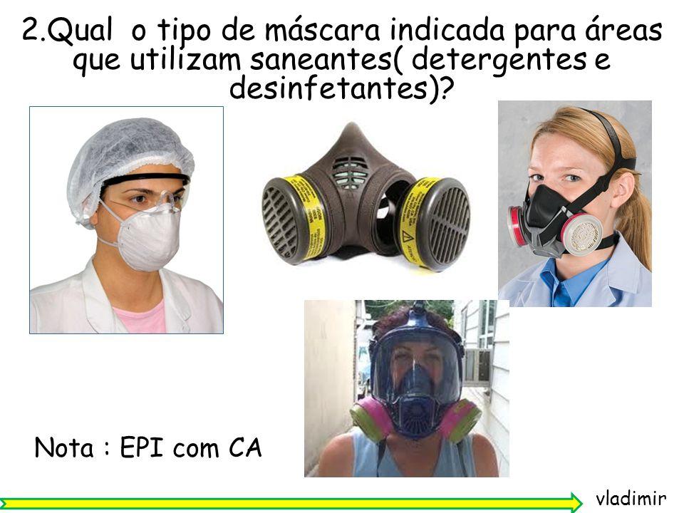 2.Qual o tipo de máscara indicada para áreas que utilizam saneantes( detergentes e desinfetantes)