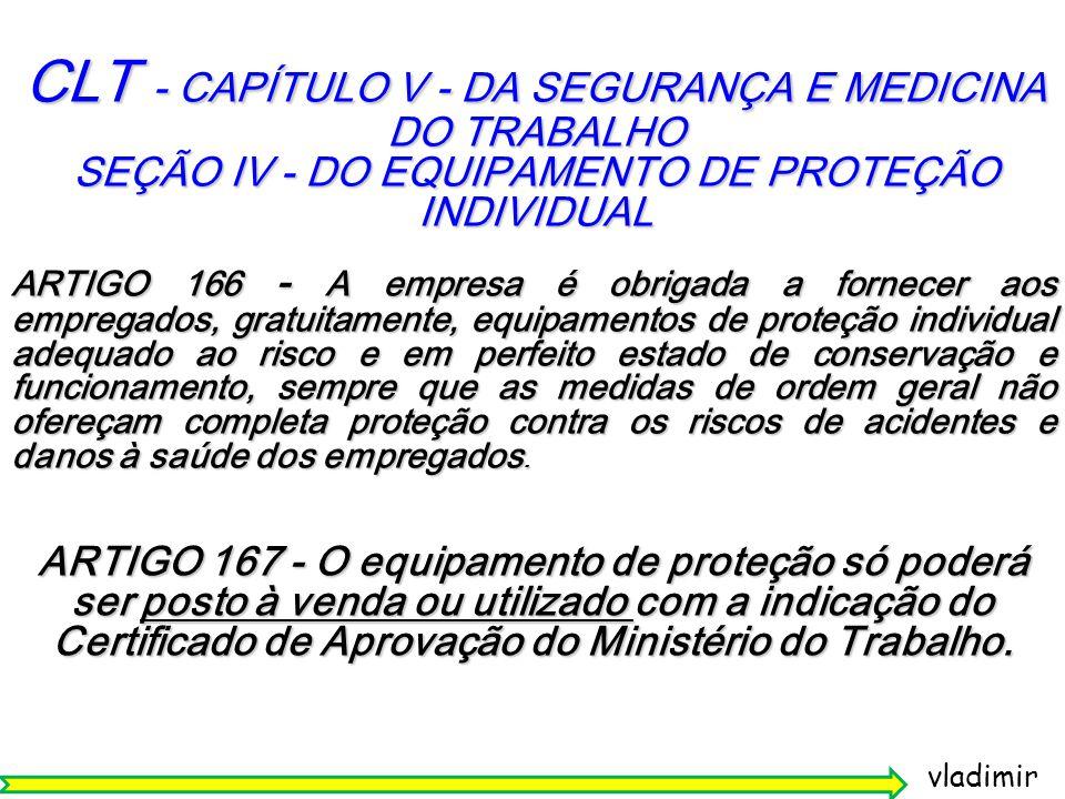CLT - CAPÍTULO V - DA SEGURANÇA E MEDICINA DO TRABALHO SEÇÃO IV - DO EQUIPAMENTO DE PROTEÇÃO INDIVIDUAL