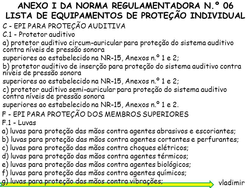 ANEXO I DA NORMA REGULAMENTADORA N.º 06