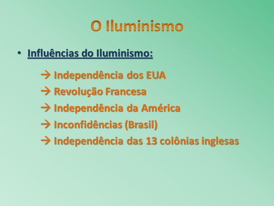 O Iluminismo Influências do Iluminismo:  Independência dos EUA