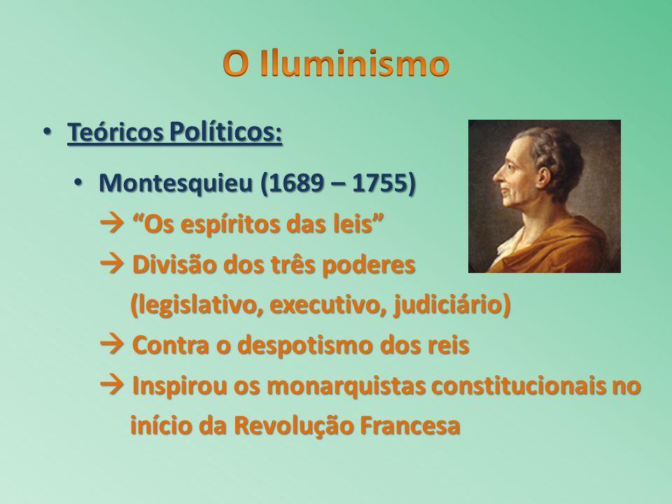 O Iluminismo Teóricos Políticos: Montesquieu (1689 – 1755)