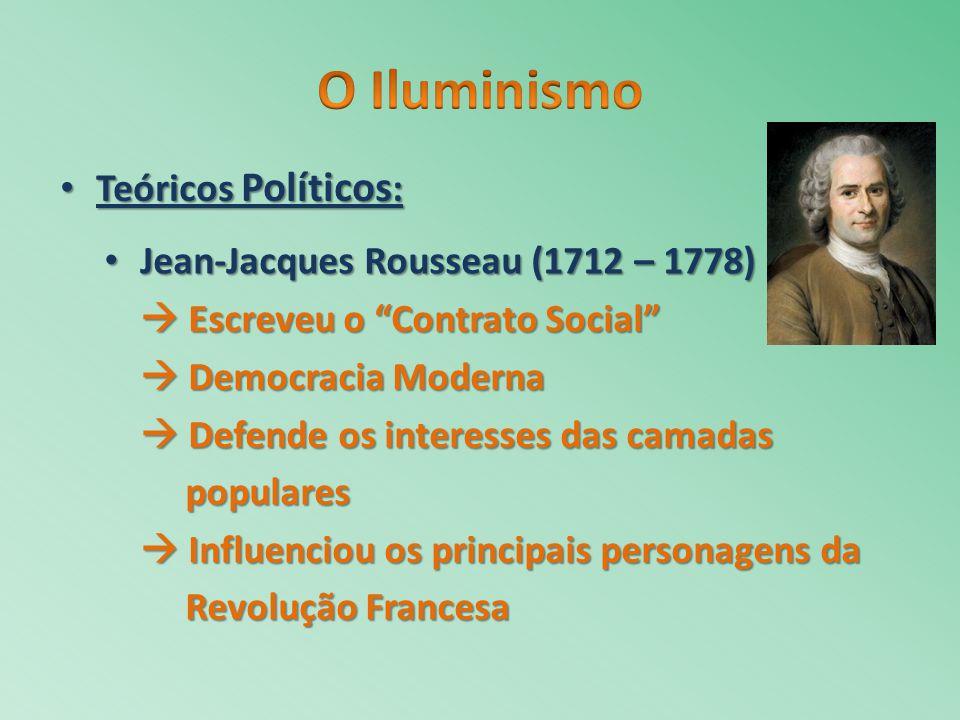 O Iluminismo Teóricos Políticos: Jean-Jacques Rousseau (1712 – 1778)