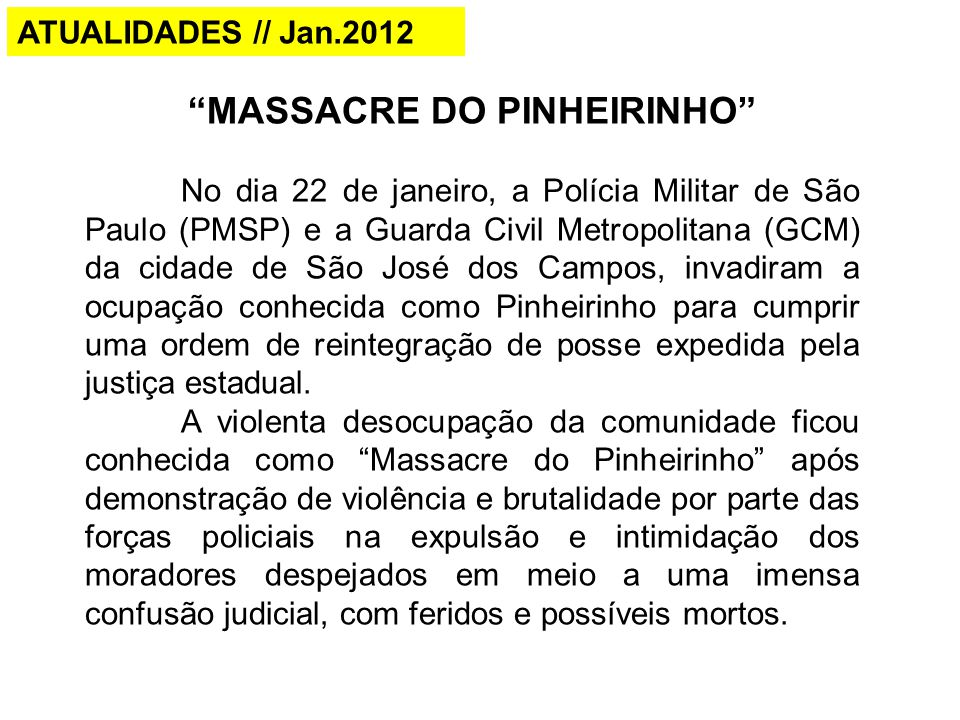 MASSACRE DO PINHEIRINHO