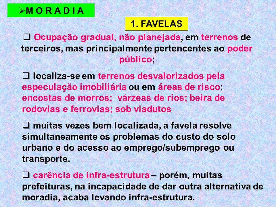 M O R A D I A 1. FAVELAS. Ocupação gradual, não planejada, em terrenos de terceiros, mas principalmente pertencentes ao poder público;