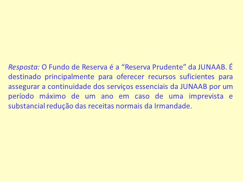 Resposta: O Fundo de Reserva é a Reserva Prudente da JUNAAB