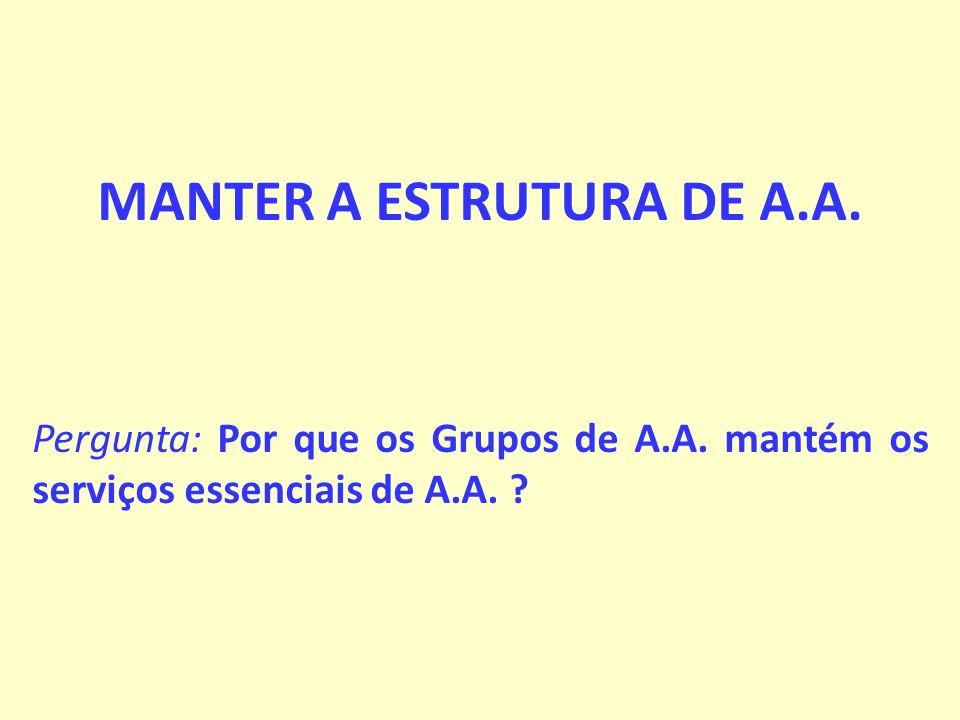 MANTER A ESTRUTURA DE A.A.