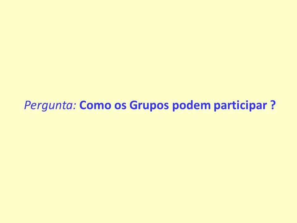Pergunta: Como os Grupos podem participar
