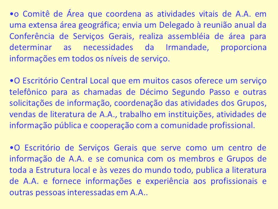 o Comitê de Área que coordena as atividades vitais de A. A