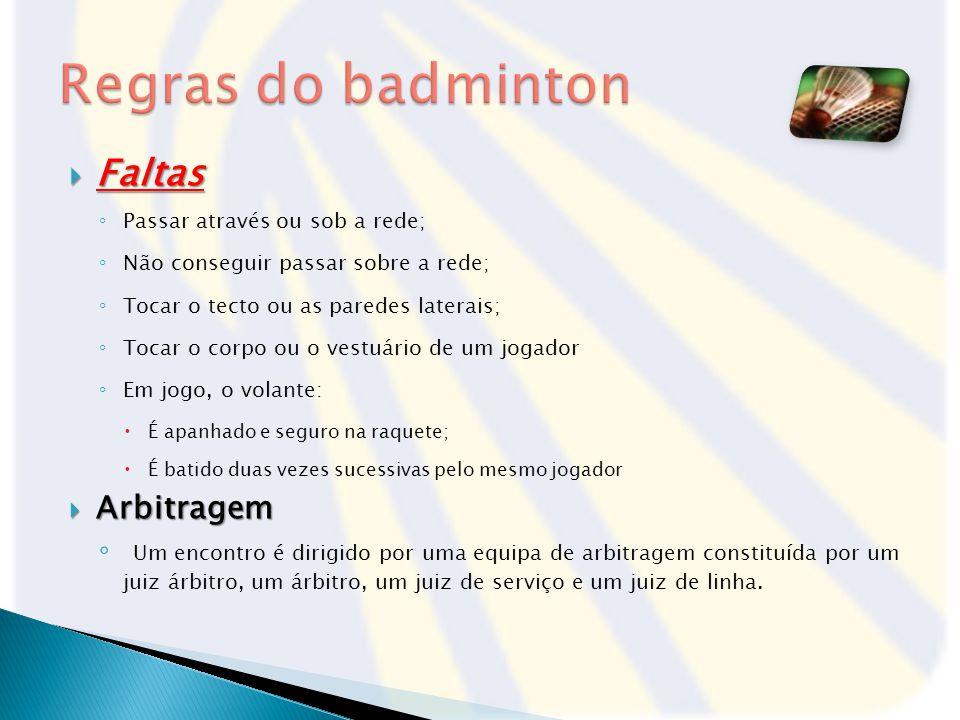 Regras do badminton Faltas Arbitragem