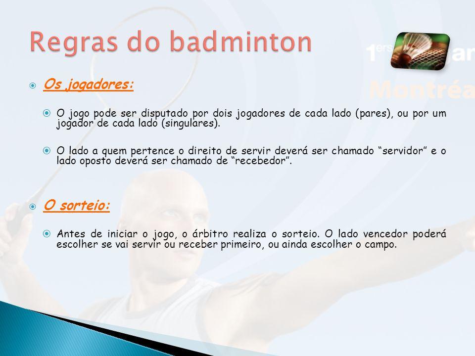 Regras do badminton Os jogadores: O sorteio: