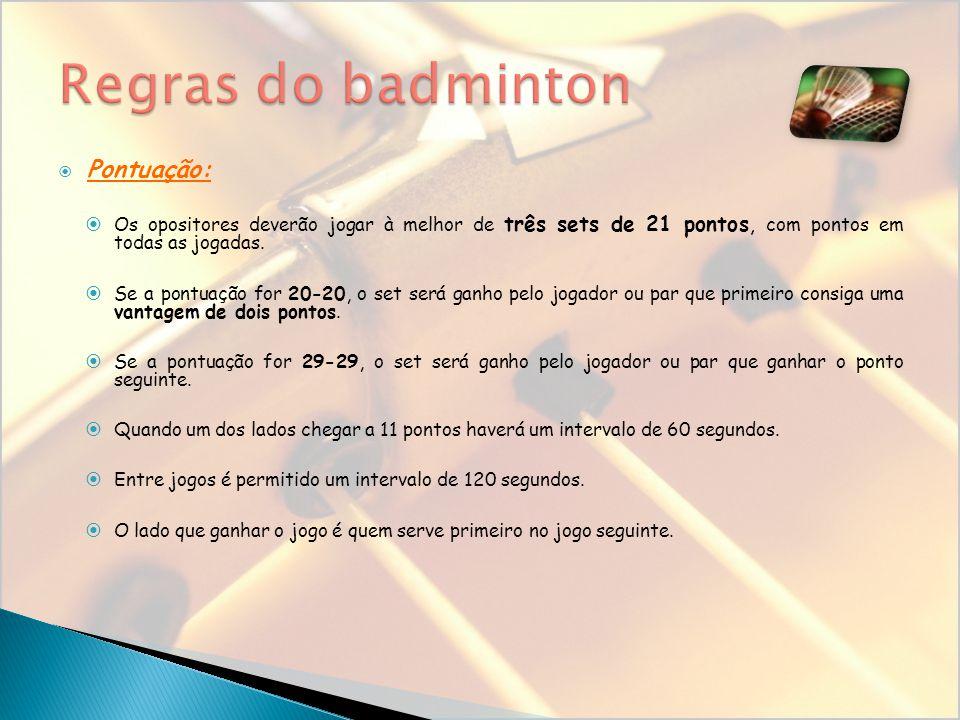 Regras do badminton Pontuação: