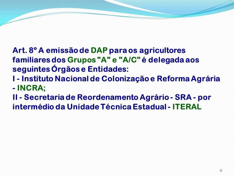 Art. 8º A emissão de DAP para os agricultores familiares dos Grupos A e A/C é delegada aos seguintes Órgãos e Entidades: