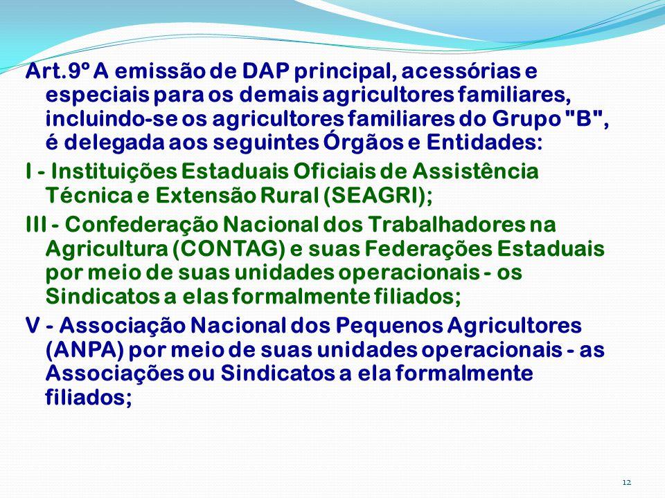 Art.9º A emissão de DAP principal, acessórias e especiais para os demais agricultores familiares, incluindo-se os agricultores familiares do Grupo B , é delegada aos seguintes Órgãos e Entidades: I - Instituições Estaduais Oficiais de Assistência Técnica e Extensão Rural (SEAGRI); III - Confederação Nacional dos Trabalhadores na Agricultura (CONTAG) e suas Federações Estaduais por meio de suas unidades operacionais - os Sindicatos a elas formalmente filiados; V - Associação Nacional dos Pequenos Agricultores (ANPA) por meio de suas unidades operacionais - as Associações ou Sindicatos a ela formalmente filiados;