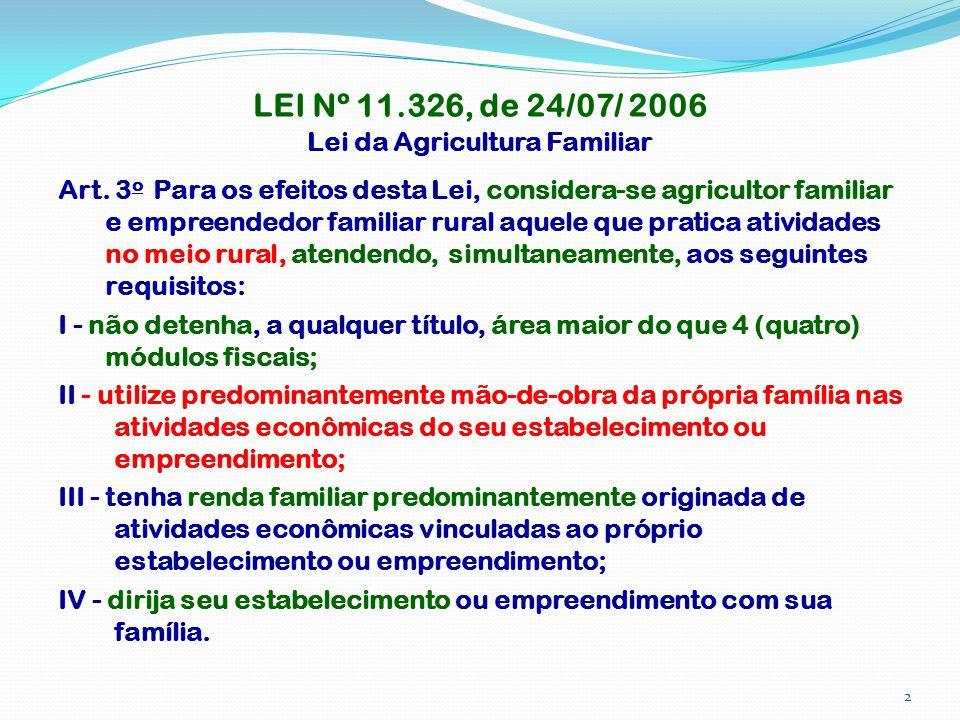 LEI Nº 11.326, de 24/07/ 2006 Lei da Agricultura Familiar