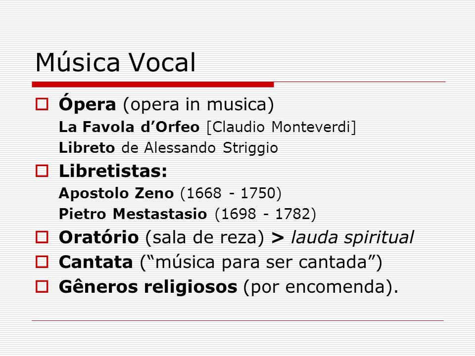 Música Vocal Ópera (opera in musica) Libretistas: