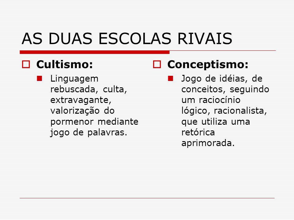 AS DUAS ESCOLAS RIVAIS Cultismo: Conceptismo: