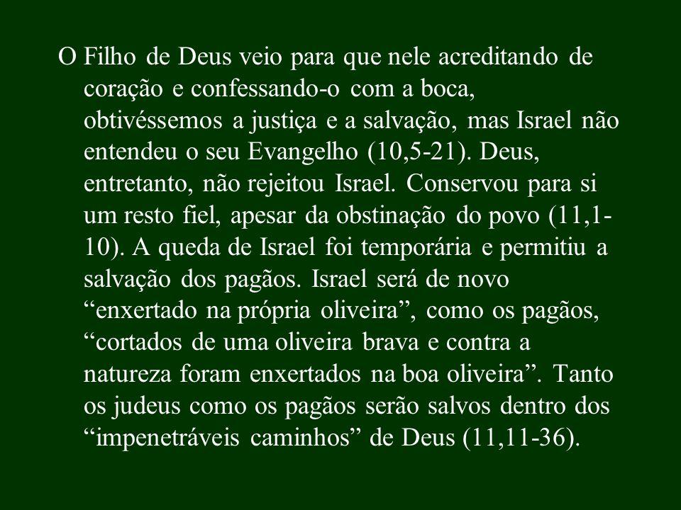 O Filho de Deus veio para que nele acreditando de coração e confessando-o com a boca, obtivéssemos a justiça e a salvação, mas Israel não entendeu o seu Evangelho (10,5-21).
