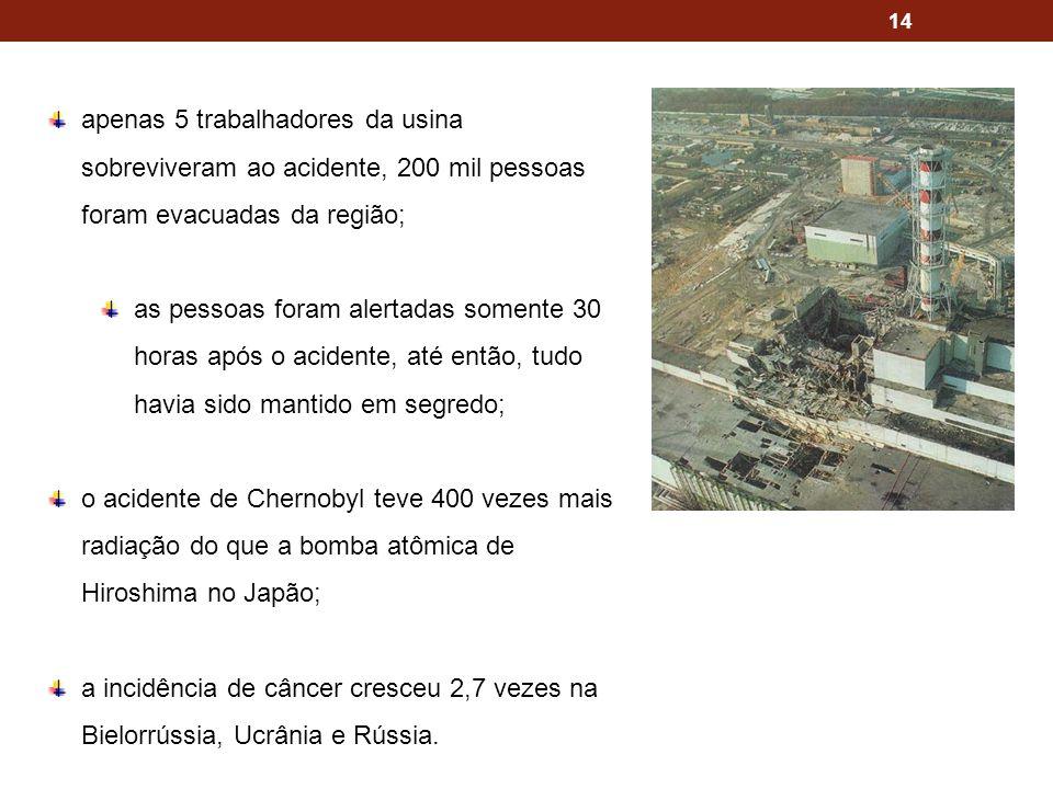 apenas 5 trabalhadores da usina sobreviveram ao acidente, 200 mil pessoas foram evacuadas da região;