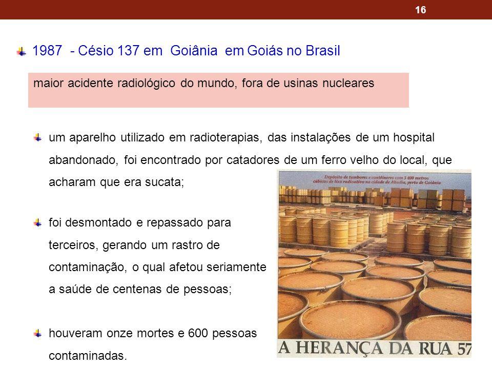1987 - Césio 137 em Goiânia em Goiás no Brasil