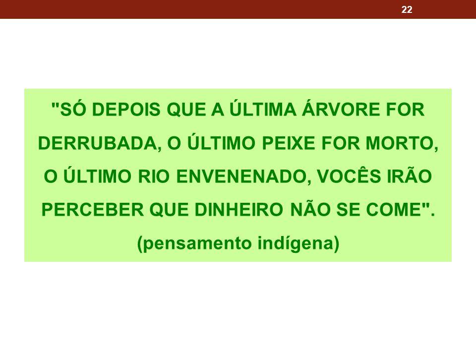 SÓ DEPOIS QUE A ÚLTIMA ÁRVORE FOR DERRUBADA, O ÚLTIMO PEIXE FOR MORTO, O ÚLTIMO RIO ENVENENADO, VOCÊS IRÃO PERCEBER QUE DINHEIRO NÃO SE COME .