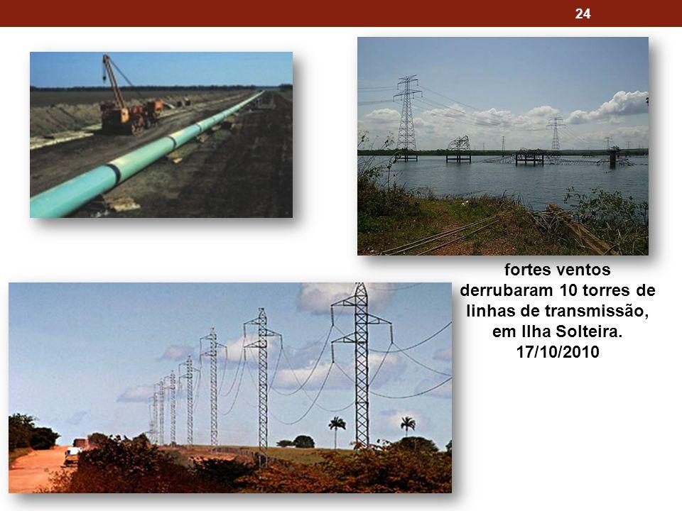 fortes ventos derrubaram 10 torres de linhas de transmissão, em Ilha Solteira. 17/10/2010