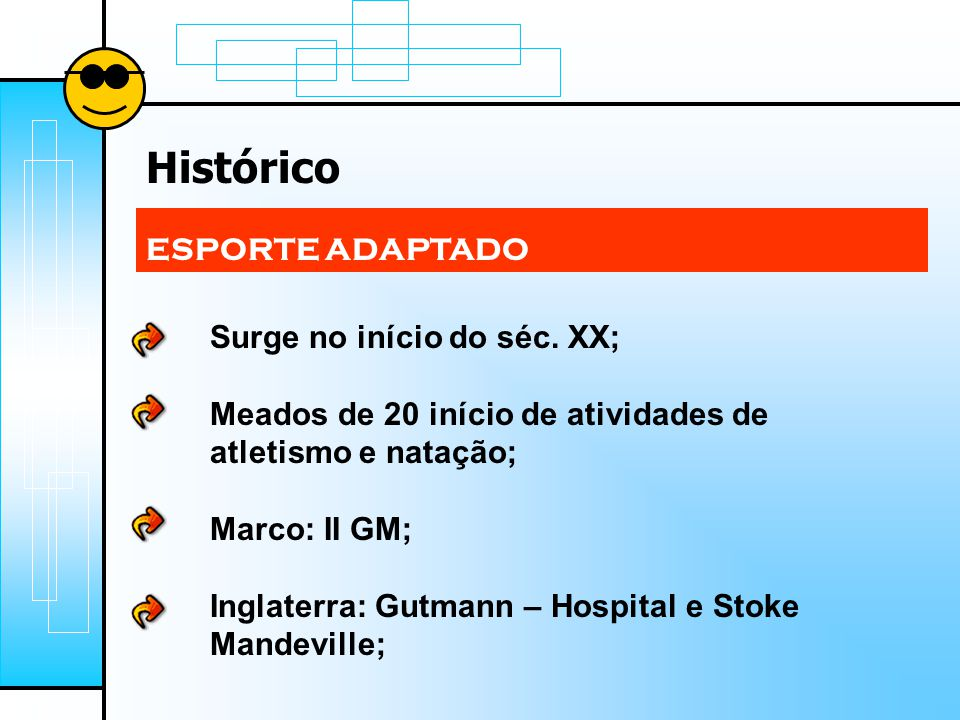 Histórico ESPORTE ADAPTADO Surge no início do séc. XX;