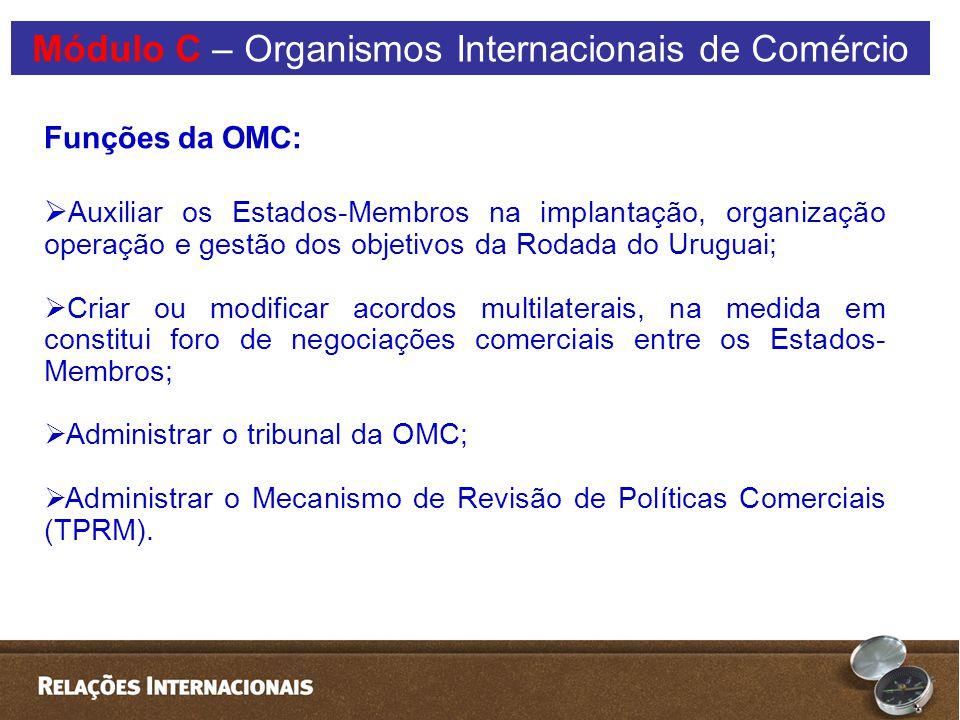 Módulo C – Organismos Internacionais de Comércio