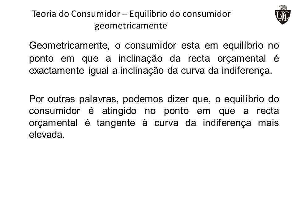 Teoria do Consumidor – Equilíbrio do consumidor geometricamente