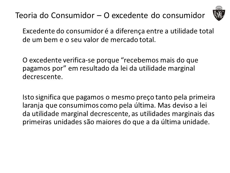 Teoria do Consumidor – O excedente do consumidor