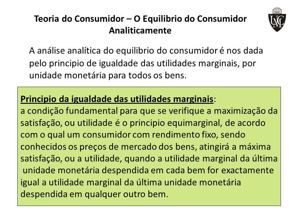 Teoria do Consumidor – O Equilibrio do Consumidor Analiticamente