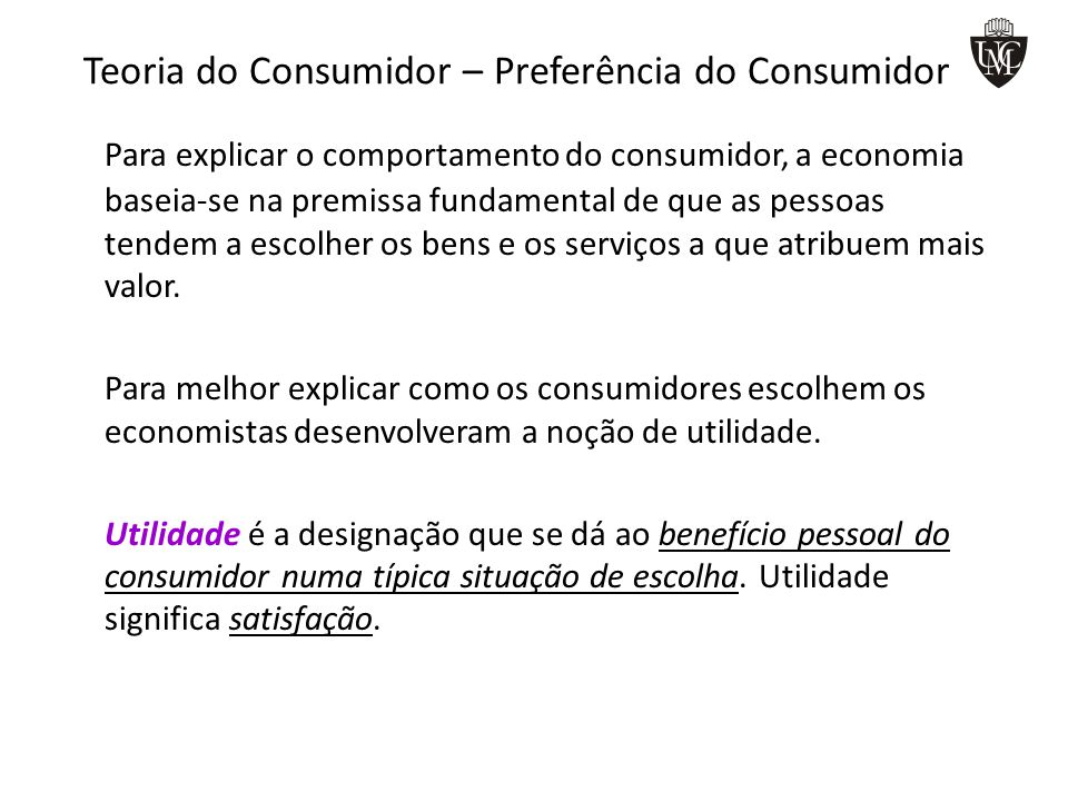 Teoria do Consumidor – Preferência do Consumidor