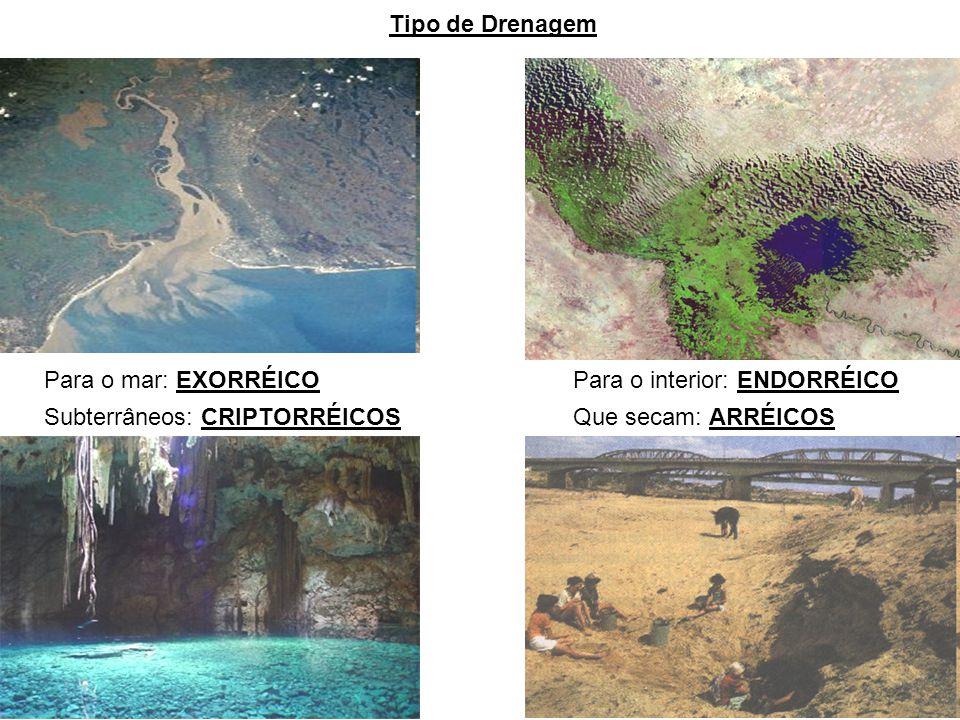 Tipo de Drenagem Para o mar: EXORRÉICO. Para o interior: ENDORRÉICO. Subterrâneos: CRIPTORRÉICOS.