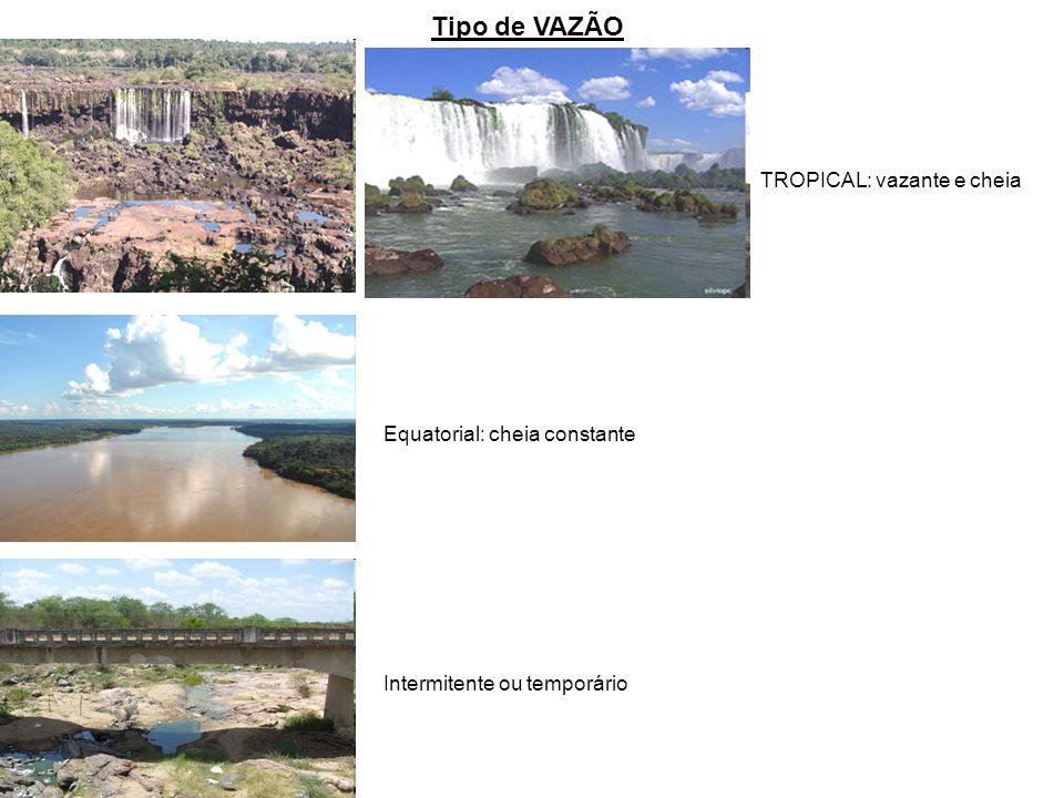 Tipo de VAZÃO TROPICAL: vazante e cheia Equatorial: cheia constante